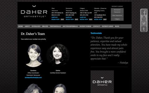 Screenshot of Team Page orthostyle.com - Best Orthodontist Vancouver Team - captured Oct. 5, 2014