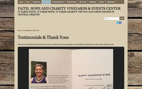 Screenshot of Testimonials Page faithhopeandcharityevents.com - Testimonials & Thank Yous « Faith, Hope and Charity Vineyards & Events Center - captured Feb. 9, 2016