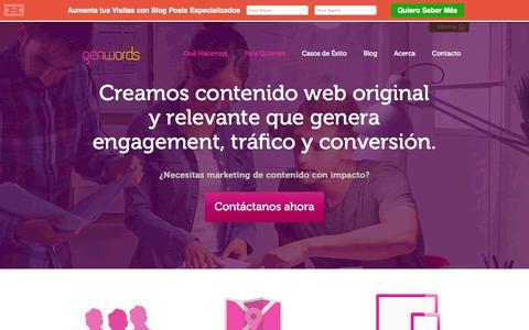 Screenshot of Home Page genwords.com - Content Marketing, Marketing de Contenidos | Genwords - captured Sept. 16, 2014