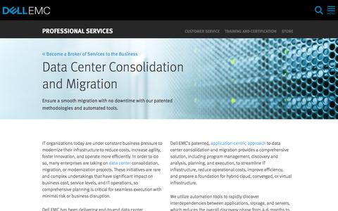 Screenshot of Services Page dellemc.com - Data Center Consolidation and Migration Services | Dell EMC US - captured Feb. 5, 2018