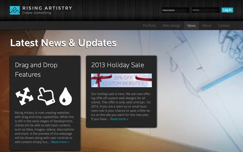 Screenshot of Press Page risingartistry.com - News - captured Oct. 10, 2014