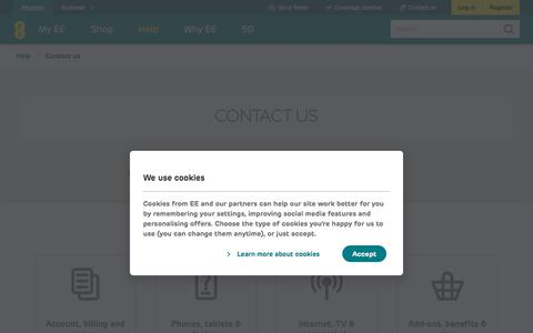 Screenshot of Contact Page ee.co.uk - Contact Us | Help | EE - captured July 1, 2019