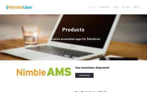 Screenshot of Products Page nimbleuser.com - Innovative Association Software for Associations - NimbleUser.com - captured Nov. 3, 2017
