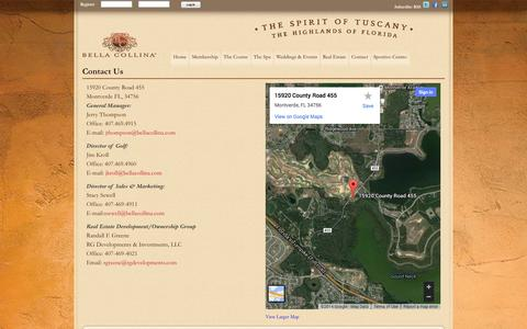Screenshot of Contact Page bellacollina.com - Wedding Venue In Montverde Clermont | Golf Course In Clermont | Bella Collina - captured Oct. 5, 2014