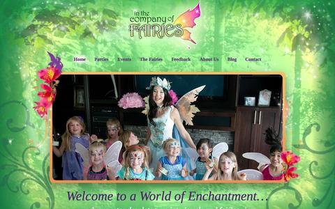 Screenshot of Home Page companyoffairies.com - In The Company Of Fairies | Fairy Parties Vancouver, BC - captured Sept. 16, 2015