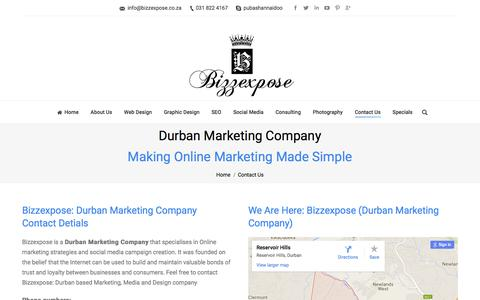 Screenshot of Contact Page bizzexpose.co.za - Durban Marketing Company: Marketing Company In Durban - captured Jan. 5, 2016