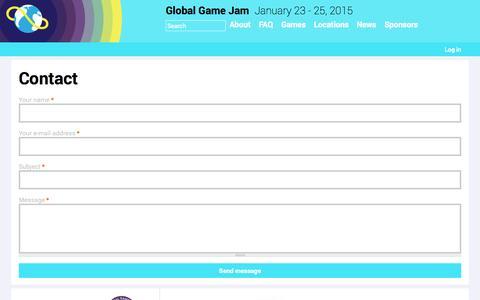 Screenshot of Contact Page globalgamejam.org - Contact   Global Game Jam - captured Sept. 22, 2014