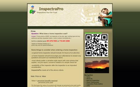 Screenshot of Pricing Page minnesotahomeinspector.biz - Prices | InspectraPro - captured Oct. 6, 2014