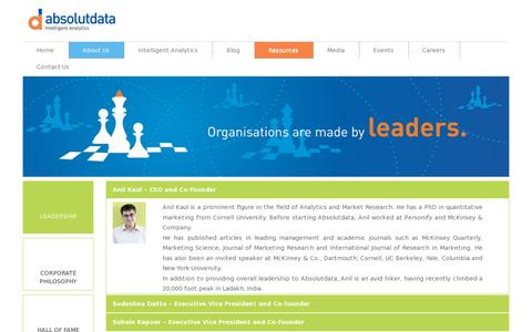 Screenshot of Team Page absolutdata.com - Leadership | Absolutdata.com - captured July 20, 2014