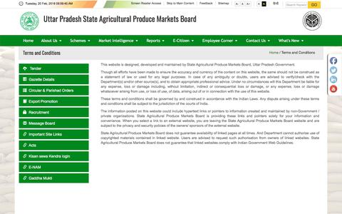 Screenshot of Terms Page upsdc.gov.in - Terms & Conditions - State Agricultural Produce Markets Board - captured Feb. 20, 2018