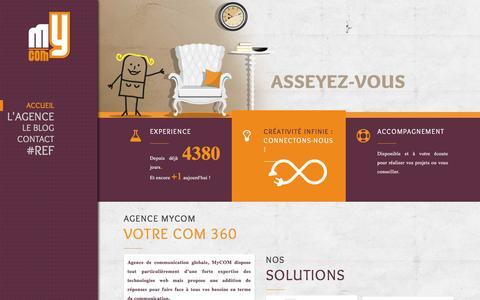 Screenshot of Home Page agence-mycom.fr - Bienvenue - Agence MyCOM Agence MyCOM - captured May 29, 2017