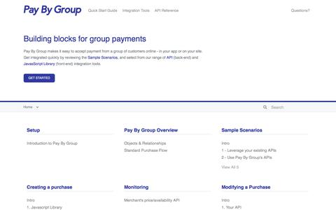 Screenshot of Developers Page paybygroup.com - Pay By Group - captured July 12, 2018