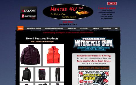 Screenshot of Home Page heatedclothing4u.com - Gerbing Baltimore Maryland Authorized Heated Clothing, heated clothes - captured Jan. 28, 2016