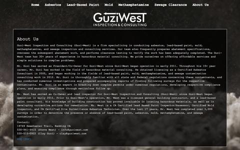 Screenshot of About Page guziwest.com - About Us – Guzi-West - captured Sept. 25, 2017