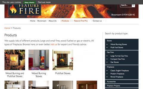 Screenshot of Products Page feature-fire.co.uk - Fireplace products in North Somerset, Bristol ans Bath | Feature Fire - captured Sept. 30, 2014