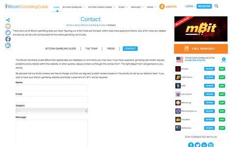 Screenshot of Contact Page bitcoingg.com - Contact The Bitcoin Gambling Guide - captured Oct. 10, 2017