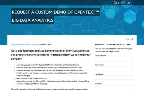 "Screenshot of Contact Page opentext.com - Request a Custom Demo of OpenTextâ""¢ Big Data Analytics - captured May 21, 2016"