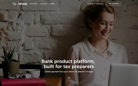 Screenshot of Home Page refundo.com - Refundo - The Official Home of Low-Cost Bank Products - captured Jan. 24, 2015