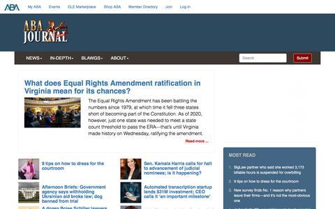 Screenshot of Home Page abajournal.com - ABA Journal - captured Jan. 17, 2020