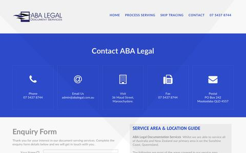 Screenshot of Contact Page abalegal.com.au - Contact ABA Legal Document Service - Sunshine Coast Queensland - captured Oct. 6, 2017