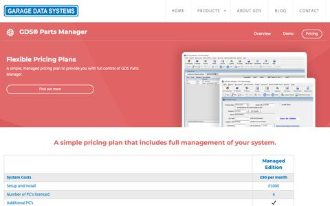 Screenshot of Pricing Page gds.co.uk - Pricing - GDS® Parts Manager - Garage Data Systems - captured Oct. 25, 2018