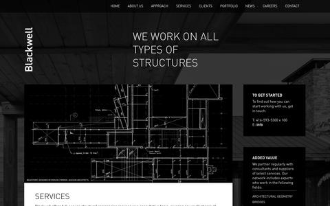 Screenshot of Services Page blackwell.ca - Services | Blackwell - captured Sept. 30, 2014