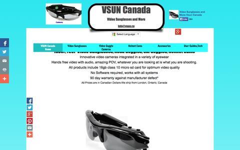 Screenshot of Home Page vsun.ca - Video Sunglasses Video Goggles,Helmet Cams 1080P,720P - captured Oct. 6, 2014