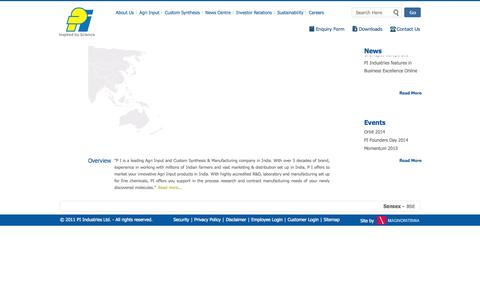 Screenshot of Home Page piindustries.com - Agri Input and Custom Synthesis & Manufacturing Company | PI Industries - captured Oct. 1, 2014