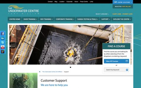 Screenshot of Support Page theunderwatercentre.com - Support, The Underwater Centre Fort William and Tasmania - captured Nov. 13, 2016