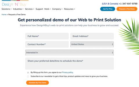 Screenshot of Signup Page designnbuy.com - Request for Personalized Demo of Our Web to Print - captured Nov. 29, 2019