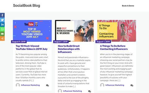 Screenshot of Blog socialbook.io - SocialBook Blog - Influencer Marketing - captured Aug. 14, 2019