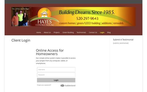 Screenshot of Login Page hayesconstructiontucson.com - Client Login - Hayes Construction Tucson - captured Nov. 2, 2016
