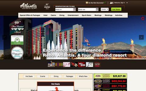 Screenshot of Home Page atlantiscasino.com - Atlantis Casino Resort Spa Reno - Hotels, Dining, Spa, Entertainment - captured Sept. 22, 2014
