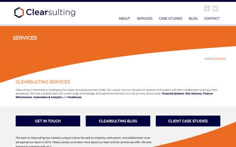 Screenshot of Services Page clearsulting.com - Services | Clearsulting : Clearsulting - captured March 7, 2019