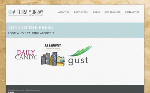 Screenshot of Press Page altijiramurray.com - Press | Altijira Murray Products, LLC.Altijira Murray Products, LLC. - captured Oct. 4, 2014