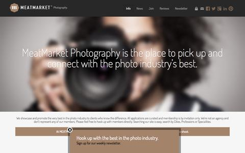 Screenshot of About Page meatmarketphoto.com - About the MeatMarket™ Photography. - captured Oct. 27, 2014