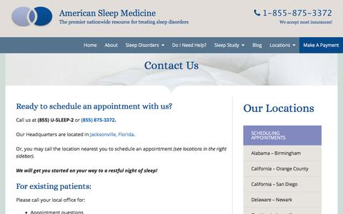 Screenshot of Contact Page Locations Page americansleepmedicine.com - Contact American Sleep Medicine - Find A Location Near You - captured May 30, 2017