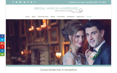 Screenshot of Contact Page bridalhairinhampshire.co.uk - Bridal Hair in Hampshire | Wedding Hair from Michelle Crosser | Contact - captured Oct. 6, 2018
