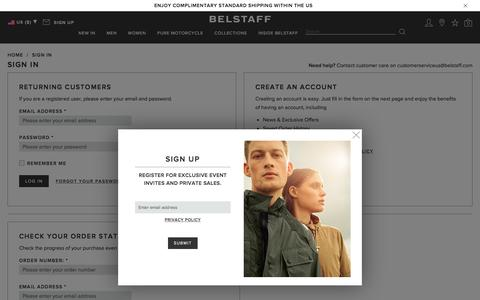 Screenshot of Login Page belstaff.com - Sign in, register or check your order status | Belstaff - captured April 5, 2017