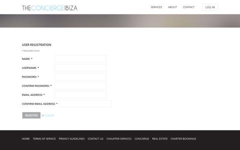 Screenshot of Signup Page theconciergeibiza.com - theconciergeibiza - captured Oct. 7, 2014