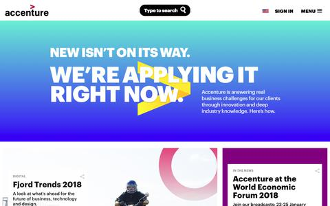 Screenshot of accenture.com - New isn't on its way. We're applying it right now. | Accenture - captured Jan. 24, 2018