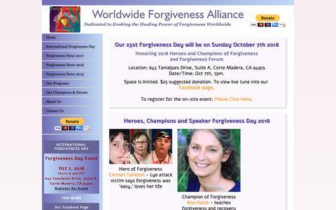 Screenshot of Home Page forgivenessalliance.org - Worldwide Forgiveness Alliance - captured Oct. 30, 2018