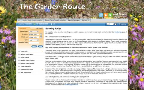 Screenshot of FAQ Page garden-route-tours.travel - Garden Route hotels booking service by garden-route-tours.travel - FAQs - captured March 13, 2016