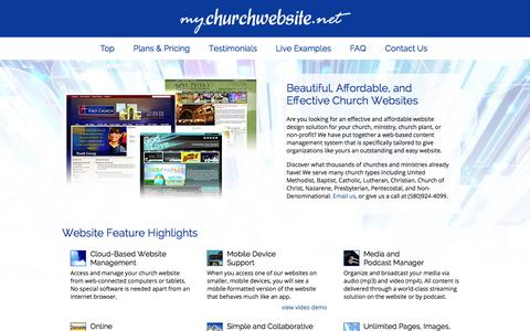 Screenshot of Home Page mychurchwebsite.net - Church Websites | $99 | Easy Admin, Many Designs - captured Jan. 26, 2015