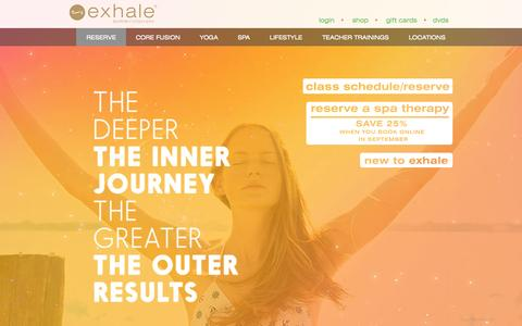 Screenshot of Home Page exhalespa.com - Exhale Yoga Classes, Spa Treatments, Barre & Core Fitness - captured Sept. 19, 2014