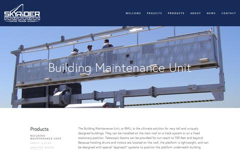Screenshot of Products Page sky-rider.com - Building Maintenance Unit — Sky Rider Equipment Co. - captured Oct. 22, 2017