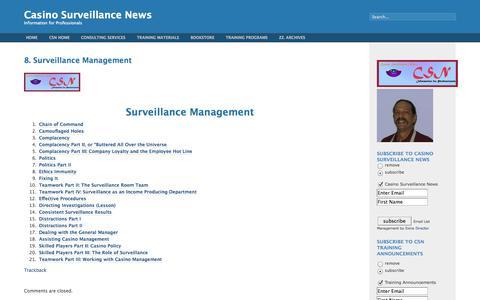 Screenshot of Team Page casinosurveillancenews.com - Casino Surveillance News   » 8. Surveillance Management - captured Sept. 29, 2014