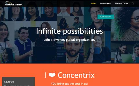 Screenshot of Jobs Page concentrix.com - Welcome to Concentrix - Find Your New Career - captured Sept. 19, 2018