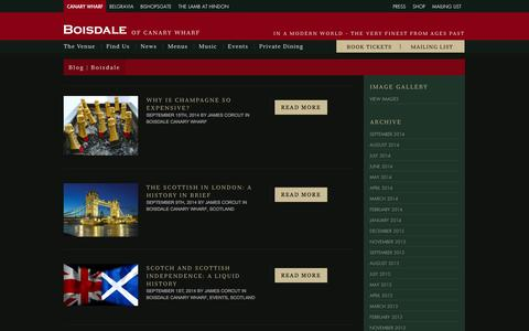 Screenshot of Blog boisdale.co.uk - The Boisdale Blog - serving Highland Hospitality South of the Border - captured Sept. 23, 2014