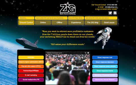 Screenshot of Home Page justzig.com - Ground Control - ZiG Multi-Channel Marketing - captured Oct. 7, 2014